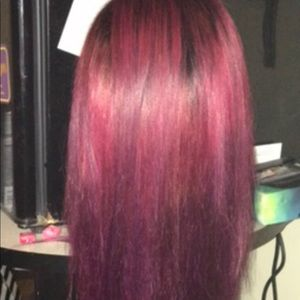 Pink/purple ombre human hair wig